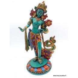 Grande statue Tara verte sur pied 30 cm Statuettes Bouddhistes GSTV1