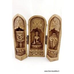 Temple triptyque bouddhiste de voyage Objets rituels bouddhistes TEM1