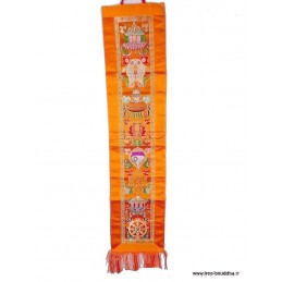 Tenture 8 signes auspicieux jaune safran Tentures tibétaines Bouddha HQTEN4