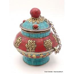 Boîte à bijoux tibétaine 8 signes auspicieux Artisanat tibétain bouddhiste BAT2.2