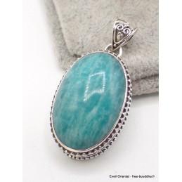 Pendentif Amazonite du Pérou style vintage ovale Pendentifs pierres naturelles aw43.1