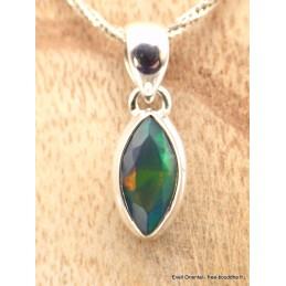 Pendentif Opale noire du Chili facettée forme marquise Pendentifs pierres naturelles AW51.1