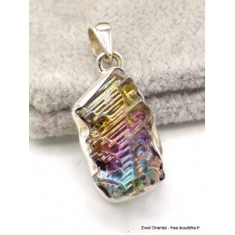 Pendentif Quartz Bismuth réticulé serti clos Pendentifs pierres naturelles AW53.1