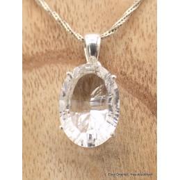 Pendentif Cristal de Roche facetté oval Pendentifs pierres naturelles AW54