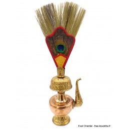 Bhumpa tibétain en cuivre avec plume 21 cm Objets rituels bouddhistes BHUM2