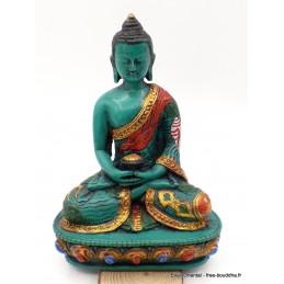 Statuette Bouddha en méditation résine verte Objets rituels bouddhistes BV1