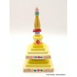 Stupa tibétain en bois peint à la main Artisanat tibétain bouddhiste STU10