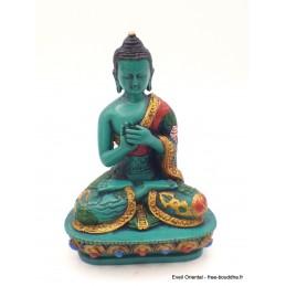Statuette Bouddha en méditation peint à la main Objets rituels bouddhistes BV2