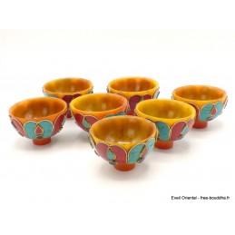 Bols d'offrandes bouddhistes en ambre et pierres Objets rituels bouddhistes BOLAM2