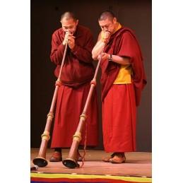 Trompette tibétaine de monastère 120 cm Objets rituels bouddhistes TRUM1