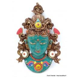 Masque Tara Verte serti de pierres Artisanat tibétain bouddhiste MATV4