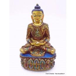 Statuette de Bouddha peinte or Objets rituels bouddhistes BOU15