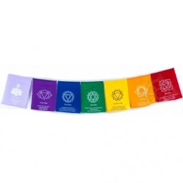 Guirlande de drapeaux tibétains 7 chakras Drapeaux tibétains DRAP1