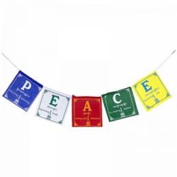 Guirlande de 5 drapeaux tibétains Peace Drapeaux tibétains PEA1