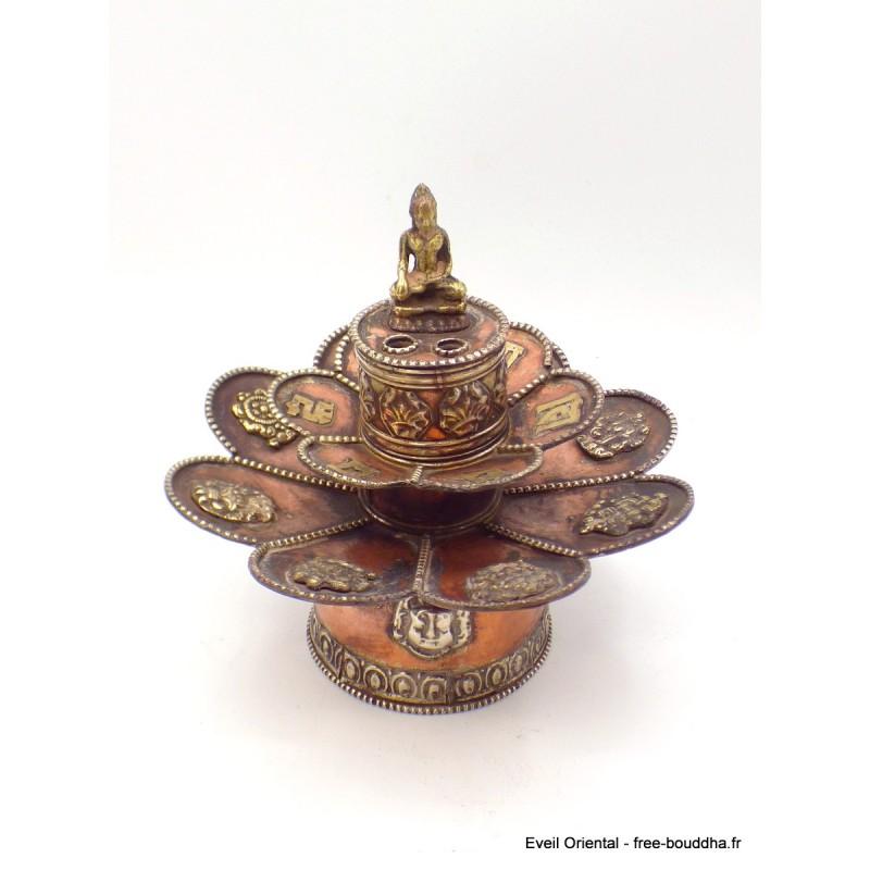 Brûleur d'encens tibétain double Lotus Bouddha Brûleurs et porte-encens AA25.3