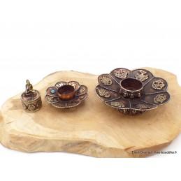 Brûleur d'encens tibétain double Lotus en cuivre Brûleurs et porte-encens AA25.4