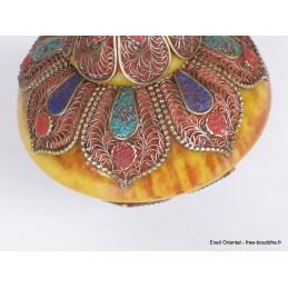 Boîte à bijoux tibétaine en Ambre et métal vieilli Artisanat tibétain bouddhiste BAT6.3