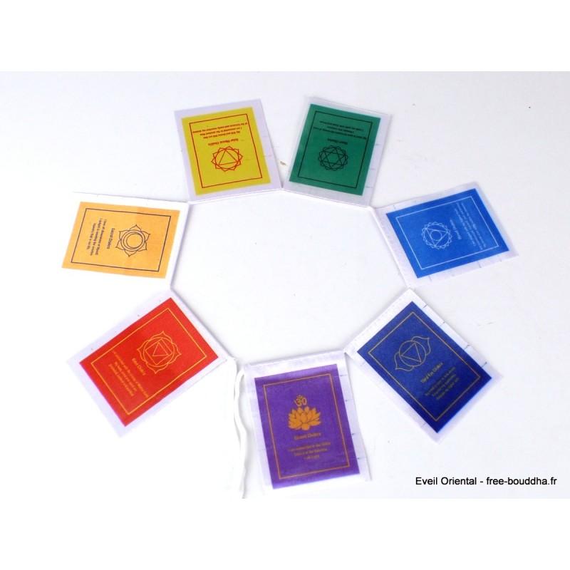 7 Drapeaux tibétains cartonnés 7 chakras Drapeaux tibétains DRACA1