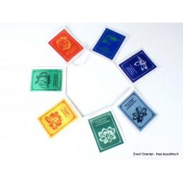7 Drapeaux tibétains cartonnés Lotus Drapeaux tibétains DRACA2