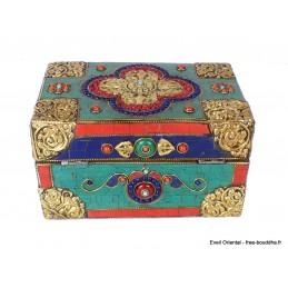 Grosse boîte à bijoux tibétaine sertie de pierres Artisanat tibétain bouddhiste BAT14