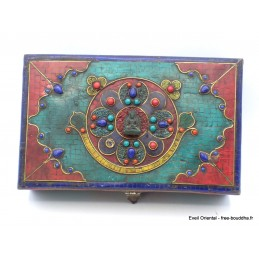 Boîte à bijoux bouddhiste en pierres vieillies Artisanat tibétain bouddhiste BAT15