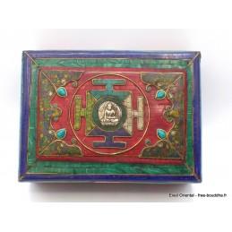 Boîte à bijoux bouddhiste look antique Artisanat tibétain bouddhiste BAT16