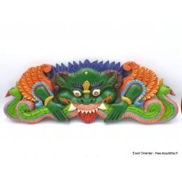 Décoration murale en bois Mahakala peint à la main Décoration tibétaine CHEP2