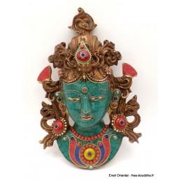 Masque de Tara en résine serti de pierres Artisanat tibétain bouddhiste MATV5