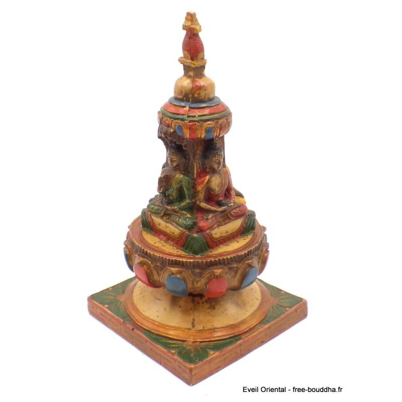 Stupa bouddhiste peint à la main 15 cm Objets rituels bouddhistes STUPA50
