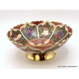 Grand bol d'offrande laiton émaillé 16 cm plusieurs coloris Objets rituels bouddhistes GBOL1