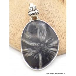 Gros Pendentif argent Chrysanthème bélière feuille Pendentifs pierres naturelles GH11.1
