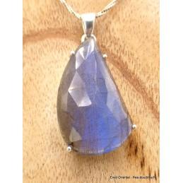 Pendentif Labradorite bleue facettée qualité AAA Pendentifs pierres naturelles AW60