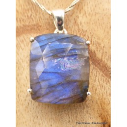 Pendentif Labradorite bleue facettée rectangulaire qualité AAA Pendentifs pierres naturelles AW60.2