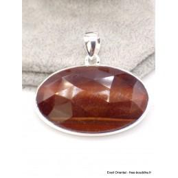 Gros Pendentif en Oeil de Tigre rouge facetté Pendentifs pierres naturelles AW63.1