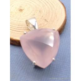 Pendentif Quartz rose triangulaire à facettes Pendentifs pierres naturelles AW64.1