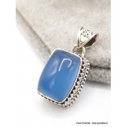Pendentif Calcédoine bleue rectangulaire style ancien Pendentifs pierres naturelles AW67.1