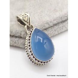 Pendentif Calcédoine bleue forme goutte Pendentifs pierres naturelles AW67.2