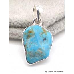 Pendentif argent Turquoise Sleeping Beauty serti clos Bijoux en Turquoise AW69.1