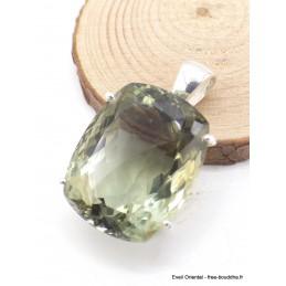 Pendentif Améthyste verte facettée rectangulaire Pendentifs pierres naturelles AW75