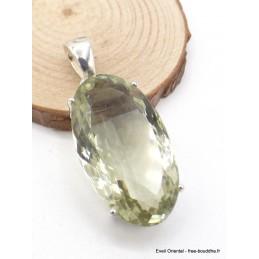 Pendentif Améthyste verte facettée ovale allongée Pendentifs pierres naturelles AW75.2