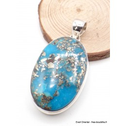 Gros Pendentif argent Turquoise avec Pyrite dorée Pendentifs pierres naturelles PU54.3