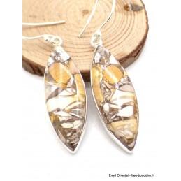 Boucles d'oreilles Jaspe Brecchia marquise Bijoux en Jaspe AW81