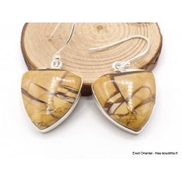 Petites Boucles d'oreilles Jaspe Brecchia triangulaires Bijoux en Jaspe AW81.1