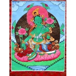 Tangka tibétain peinture Tara Verte