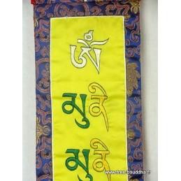 Bannière tibétaine Mantra de Bouddha BABOU