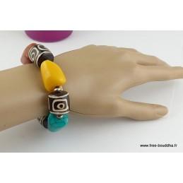 Gros Bracelet tibétain PERLES DZI Artisanat tibétain bouddhiste BRTIB1