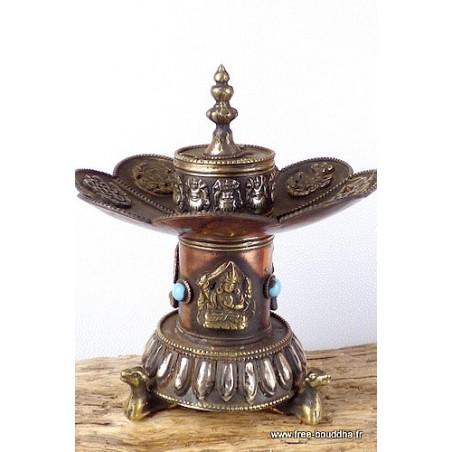 Brûleur d'encens tibétain Lotus sur pied