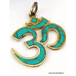Pendentif tibétain OM HINDOUISTE laiton et turquoise