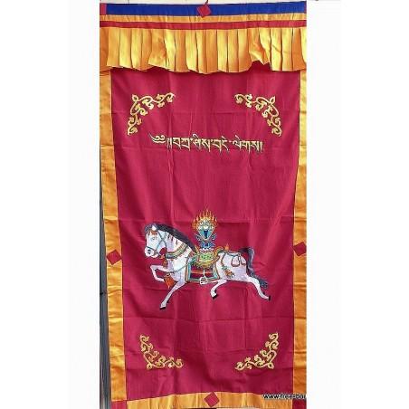 Tenture tibétaine bouddhiste CHEVAL LUNGTA rouge