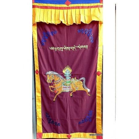 Tenture tibétaine portière CHEVAL LUNGTA bordeau
